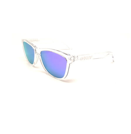 blue and white oakley sunglasses 1kj9  Oakley Sunglasses Frogskins Polished Clear Violet Iridium